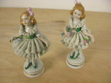 Lot 2 Vintage Scheibe Alsbach Porcelain Lace Ballerina Figurine Girls Germany