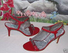 New MICHELLE K Red Leather Silver Chain Dress Sandals 9