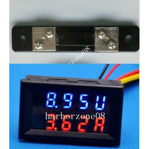 DC 4-30V 0-50A Red Blue Led Dual Panel Volt Amp Combo Meter with 50A/75mV Shunt