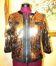 NEW MICHAEL SIMON GOLD SEQUINED EMBELLISHED FULL ZIP CROPPED EVENING JACKET SZ S