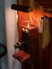 Antique Kellogg oak telephone light sconce STEAMPUNK adjustable directional lamp