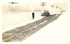 KEYSER RIDGE, MARYLAND - SNOWBANKS ON US 40 - AUTO - OLD REAL PHOTO POSTCARD