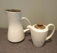 Poole Pottery Twintone Sepia and Mushroom Jug and Coffee Pot (Stoneware England)
