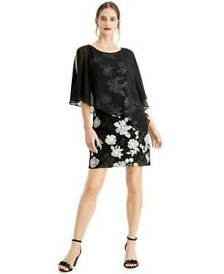 Connected Womens Embroidered Chiffon Capelet Cocktail Dress, Black Floral Size12