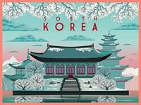 South Korea in Winter Korean Retro Travel Advertisement Art Deco Poster Print