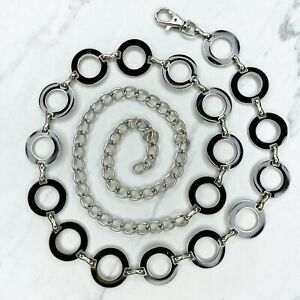 """Silver Tone Black Open Circle Concho Belly Body Chain Belt One Size 30""""-47"""""""