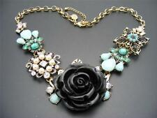 $38 Spring Street Floral Black Rose Necklace Rhinestones Faux Pearl Brass-tone