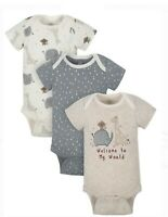 Gerber Wonder Nation Baby Boy Onesie Bodysuit Short Sleeve 3 Pack 0-3 Month Zoo