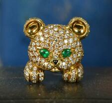 DAVID MORRIS 18ct Gold 1.5ct Diamond Emerald Onyx Bear Brooch d2060