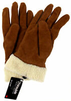 Jaclyn Smith Leather Suede Driving Gloves 3M Thinsulate Lined Light Brown Winter