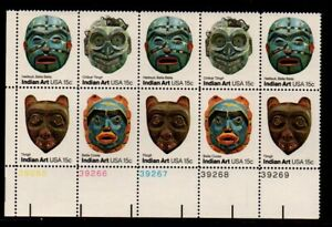 ALLY'S STAMPS US Plate Block Scott #1834-7 15c Indian Masks [12] MNH F/VF [A-LL]