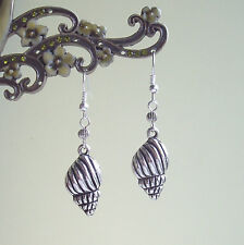 Pretty Silver Conch Shell Charm Dangly Earrings - Holiday Beach