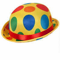 Adult Clown Bowler Hat Multicoloured Spotty Circus Fancy Dress Costume Hat