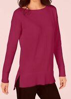 Maison Jules Womens Fuchsia Pink Knit Sweater Top VNeck Split Hem S/L/XL NWT