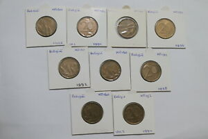 BELGIUM 20 FRANCS COLLECTION ALL DIFFERENT 9 COINS A99 H9