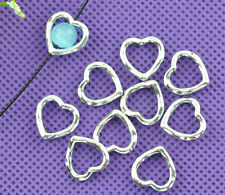 LOVE Silver Heart Bead Frames 14x14mm Jewellery Findings 250
