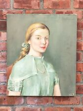 Original Signed Oil On Canvas Portrait By Josephine Paddock. Girl In Green Dress