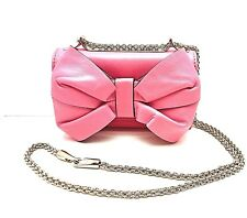 NEW VALENTINO Garavani Pink Leather BOW Flap Shoulder BAG Purse Gold Chain Strap