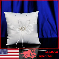 AW Wedding Ring Bearer Pillow - Ivory Satin Cushion Bearer 7.5IN w/ Double-Heart