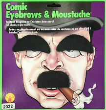 Comic Cartoon Charlie Chaplin 1920s Men Costume Moustache and Eyebrows Set