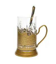 GOLD Set of 1 Russian Vintage Crystal Tea Glass & Handmade Holder Podstakannik