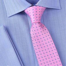 Soft Pink Ego Paisley Luxury Woven Designer Business Fashion Skinny Tie