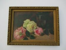 ANTIQUE FLORAL OIL PAINTING FLOWERS STILL LIFE 19TH CENTURY MYSTERY SIGNED LILLA