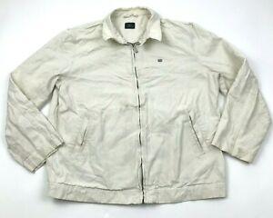VINTAGE Lacoste Jacket Size 5 White Bomber Full Zip Large Flip Phone Pocket 90's