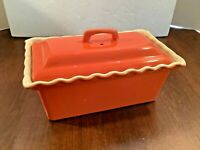 Vintage 2 pc Ceramic Loaf Pan Casserole Dish w/Knobbed Cover Orange Ruffled Rim