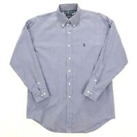 Mens Polo Ralph Lauren Long Sleeve Button Down Shirt 16 32/33 Yarmouth Blue