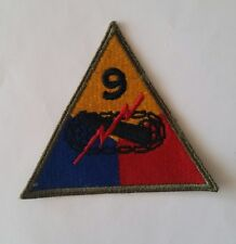 Patch US 9th armored division cut edge (blindées) WWII - 100 % ORIGINAL
