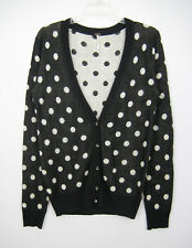 Poof Cardigan Sweater Women Size M Black White Polka Dot Long Sleeve Ribbed Trim