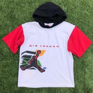 Rare VTG 90s Nike Gray Tag Air Jordan #23 Graphic S/S Hood T Shirt YOUTH L