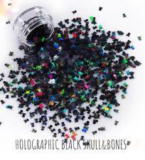 Black Skull & Bone Shape Glitter Solvent Resistant Nail Art•Face•Festival•Crafts