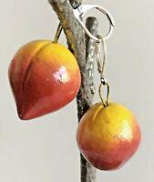 Vintage 3D Red Orange Enamel Mango Fruit Dangle Drop Silver Tone Earrings