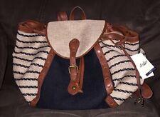 NWT *LUCKY BRAND* Kendal Tan & Black Striped Linen Backpack Handbag LB2492