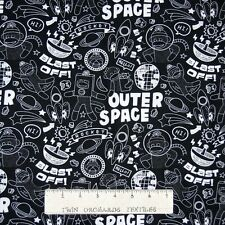 Nursery Baby Fabric - Sock Monkey in Space Chalkboard Words - Windham YARD