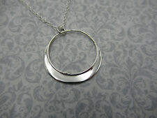 Circle Necklace w Flat Crescent Necklace - 925 Sterling Silver Geometric Pendant