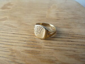 EXCELLENT HEAVY 9CT SOLID GOLD SIGNET RING  SIZE Q  5 GRAMS