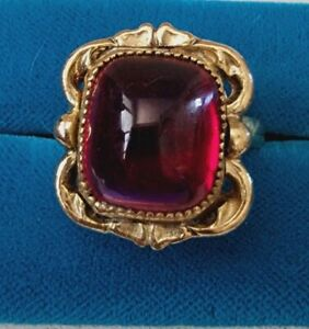 Vintage Jewelry WHITING & DAVIS Gold Tone Red Glass Adjustable Ring