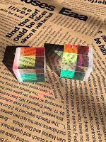 2pcs 25mm dichroic cube Defective Optical Glass Prism Teaching/DIY Decoration