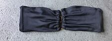 V OPEN FRONT BANDEAU BLACK RUCHED BIKINI TOP VICTORIA'S SECRET XS EUC SWIM NICE