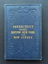 """1854 STATE OF CONNECTICUT """"LARGE 28""""X23"""" POCKET MAP,NEW YORK,NEW JERSEY,ORIGINAL"""
