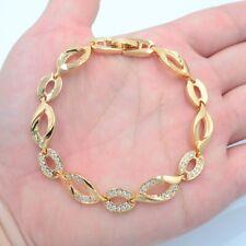 18K Yellow Gold Filled Women Clear Mystic Topaz Leaves Link Bracelet