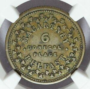 1849 Ireland Belfast Macartney Bronze Trade Token Farthing - NGC XF 45 - W-5465a