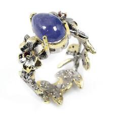 Ringe mit Tansanit Rhodinierte echten Edelsteinen für Damen