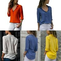 Womens Chiffon V-neck Top Long Sleeve Shirts Blouse Loose T-shirt Fall Collar US