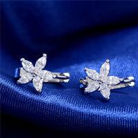 1 Pair Women's Cubic Zirconia Crystal Flower White Gold Plated Hoop Earrings