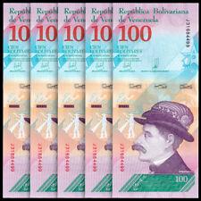 Lot 5 PCS, Venezuela 100 Bolivares Soberano, 2018, P-New, Banknotes, UNC