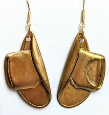 Cowboy Hats Brass Pressing Flat Earrings Gay Isber Gift Bag USA Made Rodeo